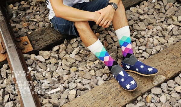 Classic Colorful Argyle Happy Socks for Men *BUY 3 FREE 3*