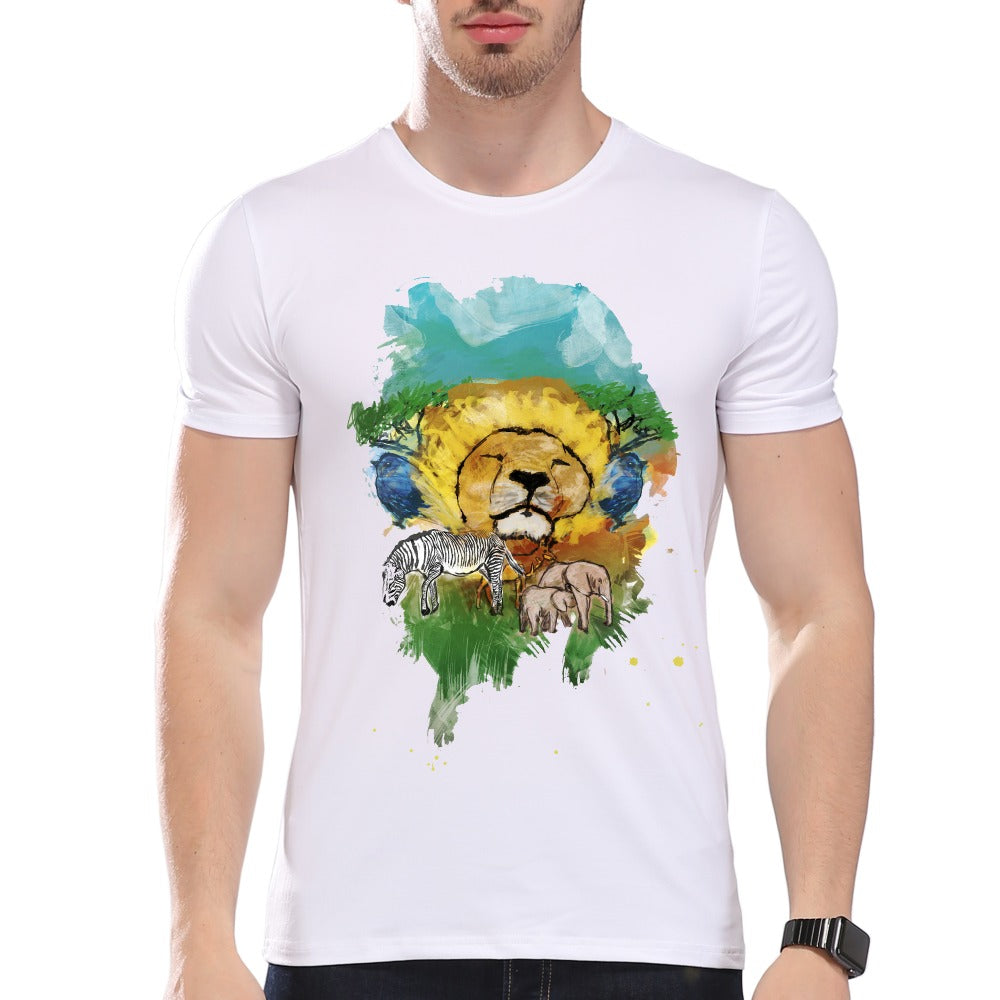 Fashion Graphic Tee - Watercolor Lion in the Jungle