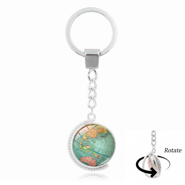 Retro Globe Keychain For Man Who Like to Left Footprint Around The World