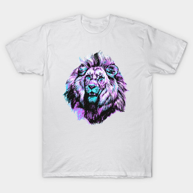 Fashion Graphic Tee - Purple Turquoise Lion