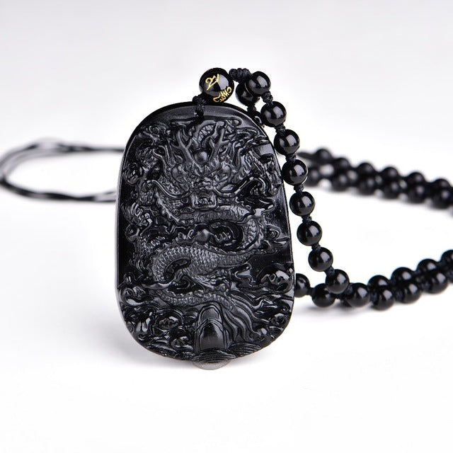 Black Obsidian - Dragon Amulet *2 Rope Variants*