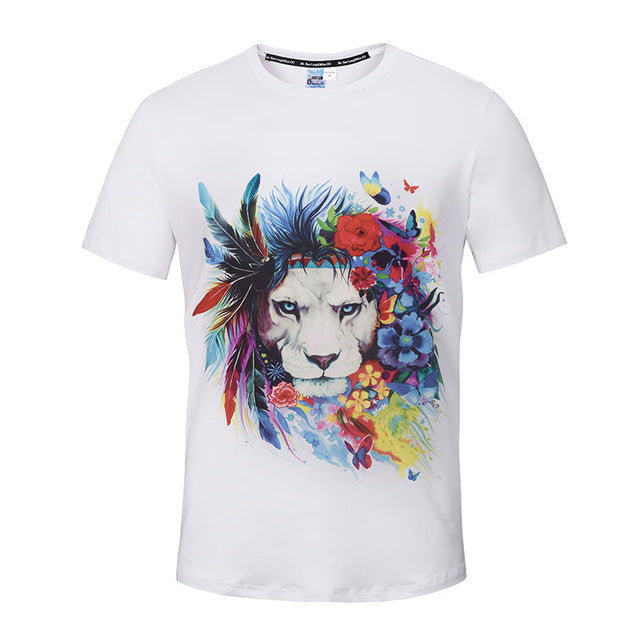Fashion Graphic Tee - Artsy Colorful Lion 2