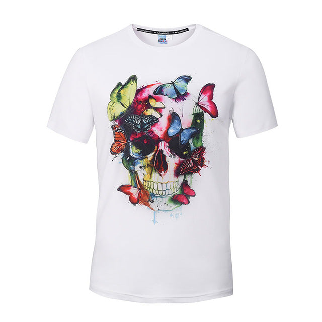 Fashion Graphic Tee - Artsy Colorful  Skull & Butterfly