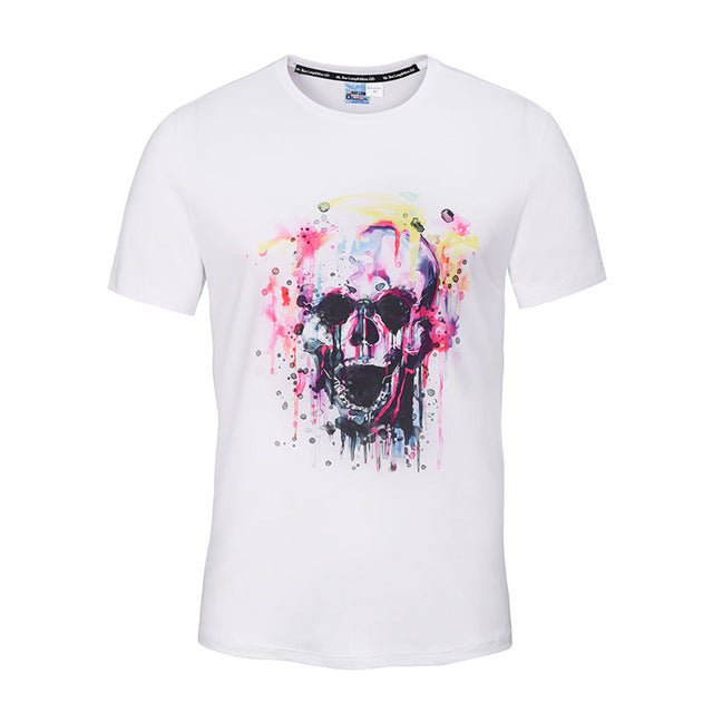 Fashion Graphic Tee - Artsy Colorful Skull