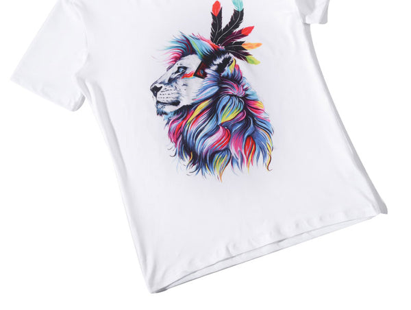 Fashion Graphic Tee - Artsy Colorful Lion