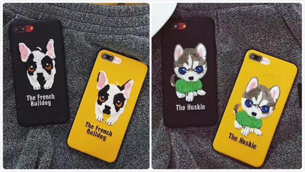 Embroidered Phone Cover for Dog Lovers - Husky Pup *Black or Yellow*