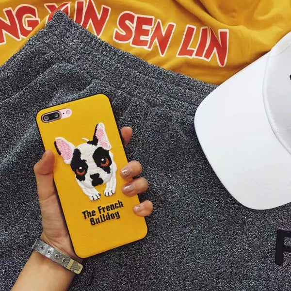 Embroidered Phone Cover for Dog Lovers - The French Bulldog Pup *Black or Yellow*