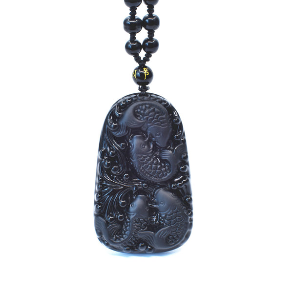 Black Obsidian - Feng Shui Fishes Pendant