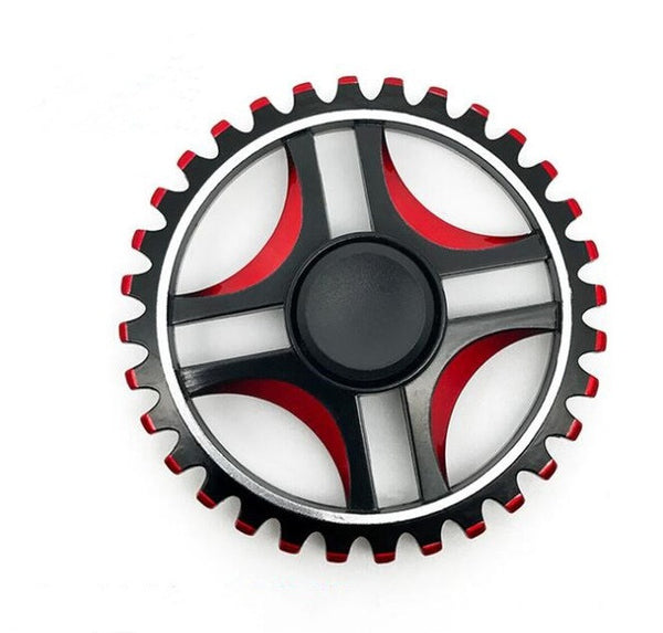High Speed Black Red Wheel with Toothed Fidget Spinner