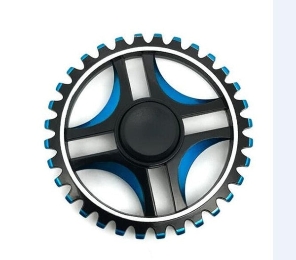 High Speed Black Blue Wheel with Toothed Fidget Spinner