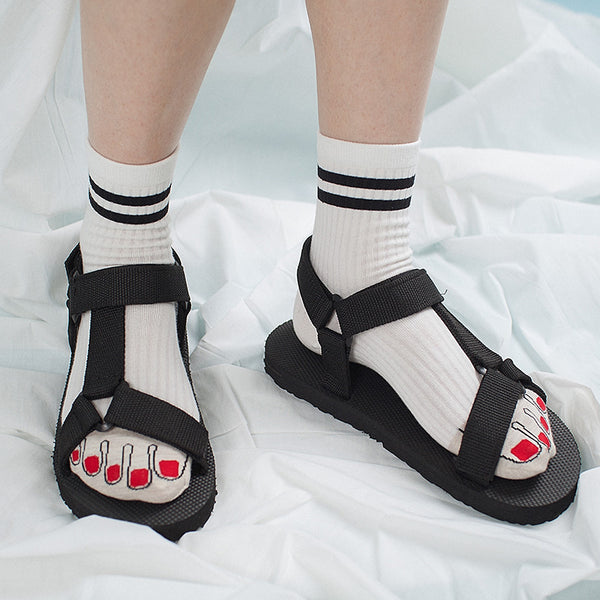 Ugly Toes Fun Socks *Black or White*