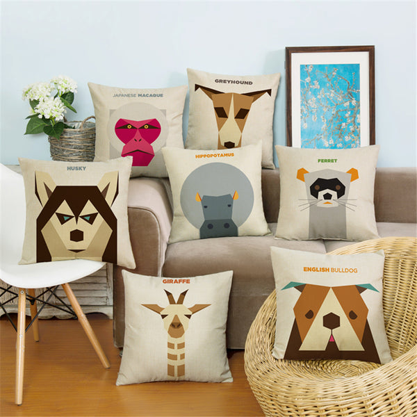 Simple Geometric Vector Animal Cushion Covers *18 Animals*