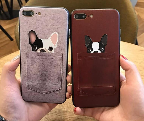 Couple Phone Covers for Dog Lovers - French Bulldogs in Pockets *2 variants*
