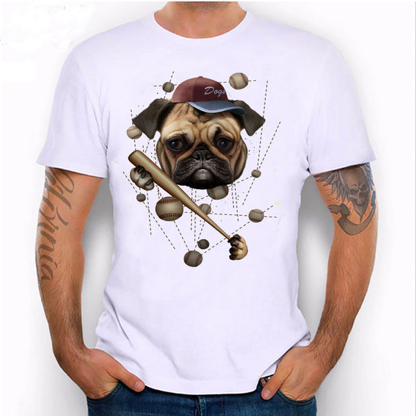 Graphic Tee for Dog Lovers - Baseball Pug
