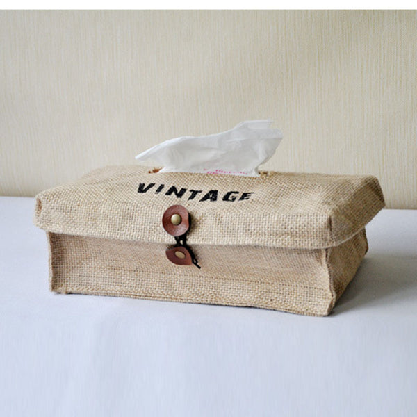 Vintage Linen Cotton Tissue Box Cover for Who Practice Smart Living Daddy