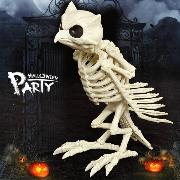 Realistic Plastic Owl Skeleton Creepy Halloween Decoration