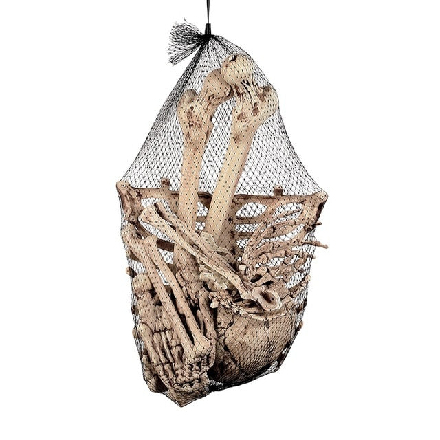 A bag of Human Plastic Skeleton for Creepy Halloween Decoration