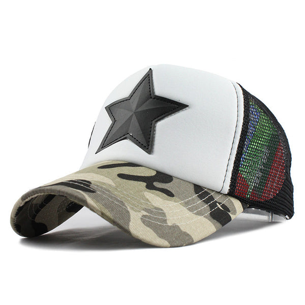 Enormous Star with Camouflage Fabric Cool Dad Hats *5 Variants*