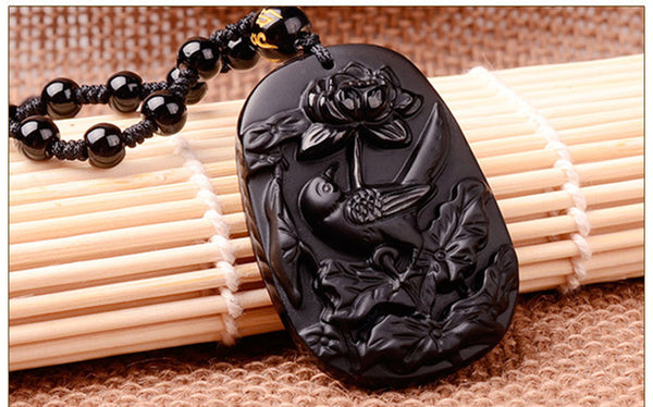 Black Obsidian - Bird & Lotus Pendant