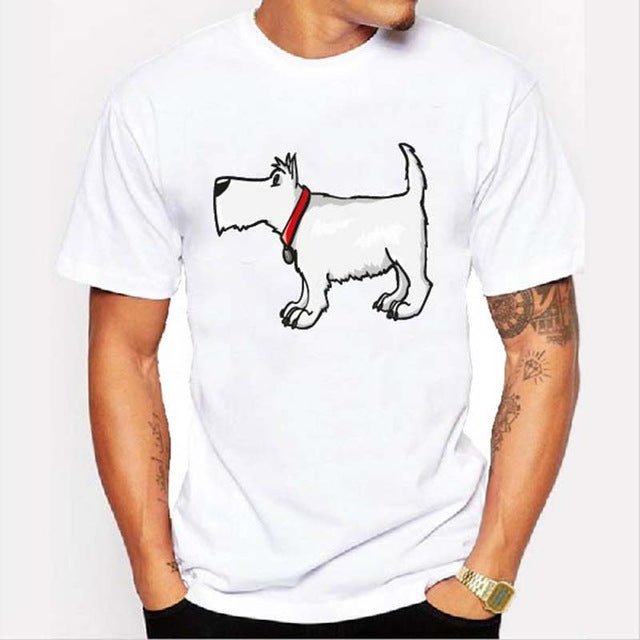 Graphic Tee for Dog Lovers - White Dog With Collar