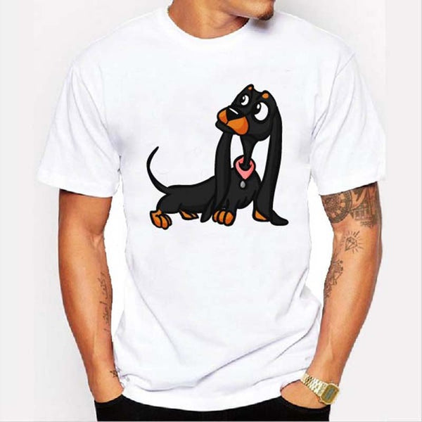 Graphic Tee for Dog Lovers - Cartoon Dachshund