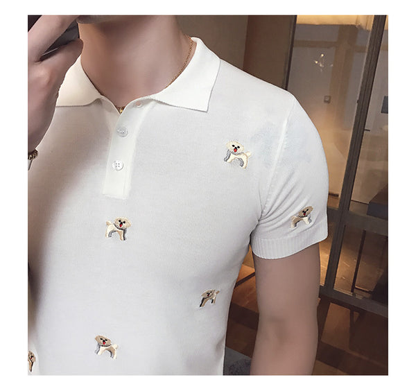 Polo Tee for Dog Lovers - Embroidered Dog Patterns