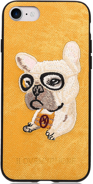 Embroidered Phone Cover for Dog Lovers - French Bulldog
