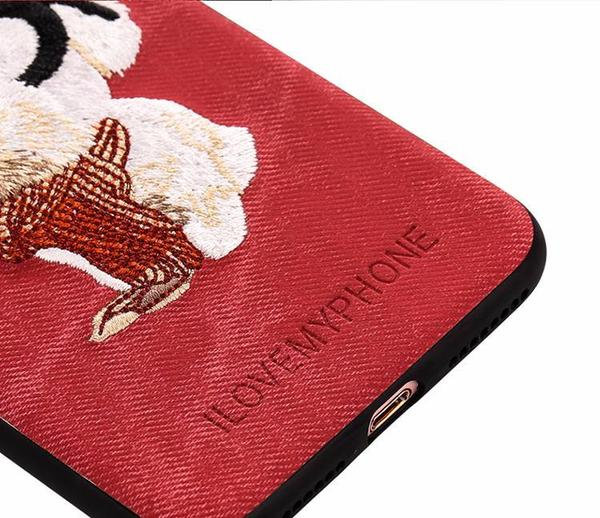 Embroidered Phone Cover for Dog Lovers - Husky Pup