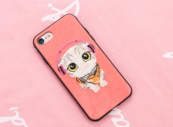 Embroidered Phone Cover for Cat Lovers - Kitten with Headphones