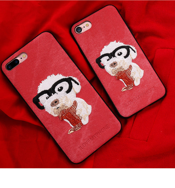 Embroidered Phone Cover for Dog Lovers - Poodle