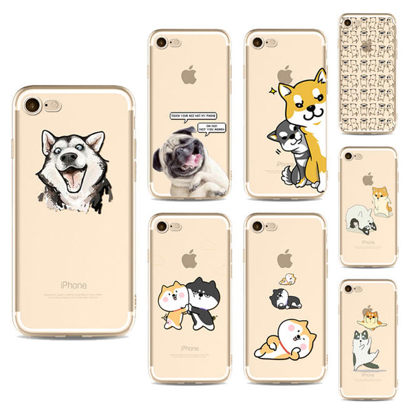 Illustrated Phone Cover for Dog Lovers - Lazy Huskies