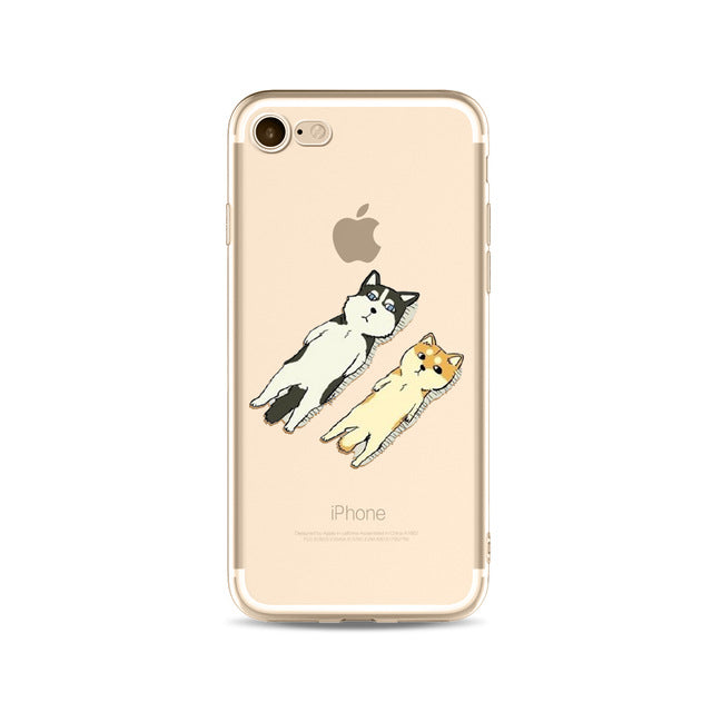 Illustrated Phone Cover for Dog Lovers - Sunbathing Huskies