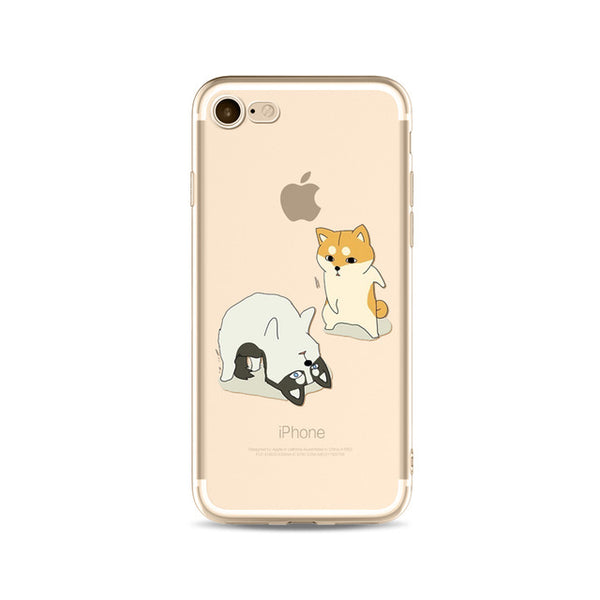 Illustrated Phone Cover for Dog Lovers - Yoga Huskies