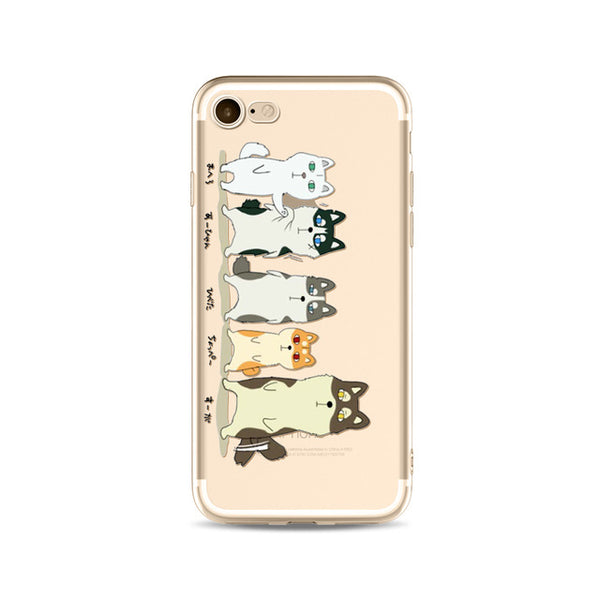 Illustrated Phone Cover for Dog Lovers - The Husky Family