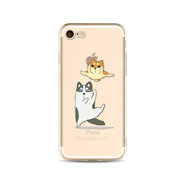 Illustrated Phone Cover for Dog Lovers - Kung Fu Huskies