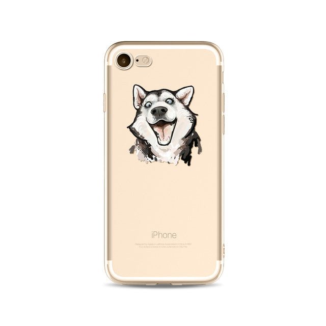 Illustrated Phone Cover for Dog Lovers - Laughing Husky