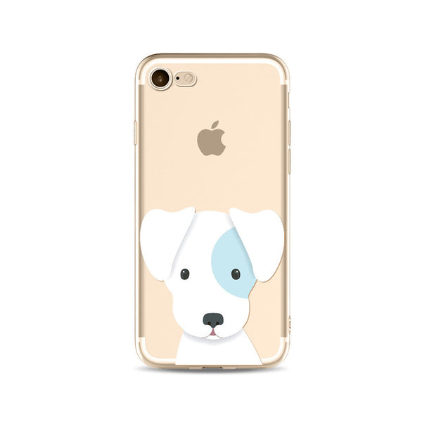 Illustrated Phone Cover for Dog Lovers - White Puppy