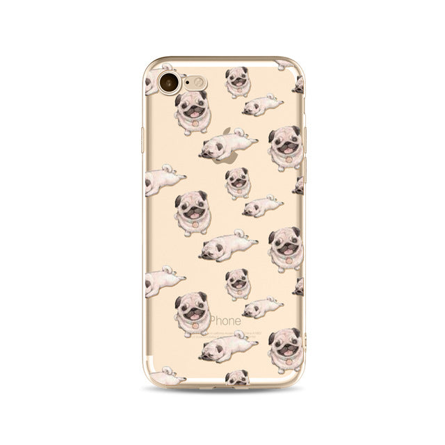 Illustrated Phone Cover for Dog Lovers - Pug Patterns