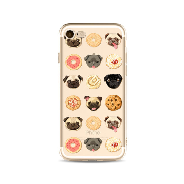 Illustrated Phone Cover for Dog Lovers - Pugs & Desserts