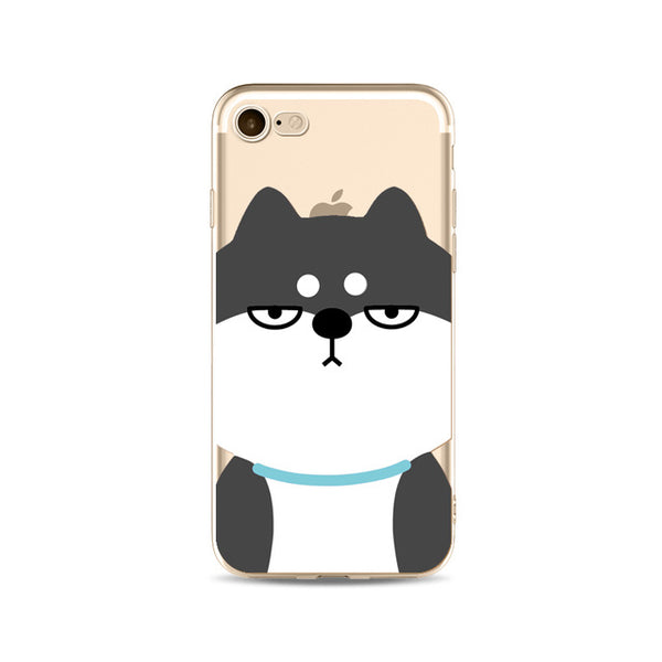 Illustrated Phone Cover for Dog Lovers - Grumpy Husky