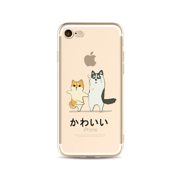 Illustrated Phone Cover for Dog Lovers - Dancing Huskies