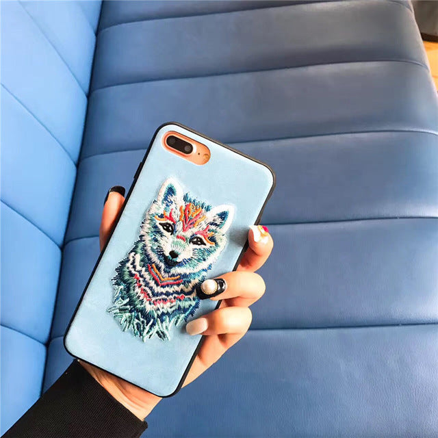 Embroidered Phone Cover - Colorful Fox