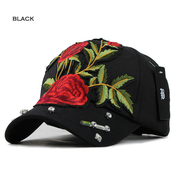 Classic Big Rose Embroidered Fashion Cap