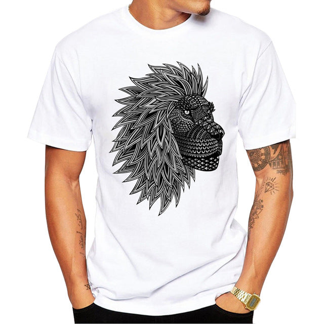 Fashion Graphic Tee - Black & White Lion