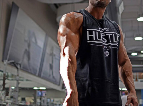 No 2407 Hustle Basic Fitness Tank Tops for Men *Black or White*