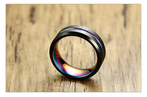 Cool Tungsten Carbide Black Ring with Striking Line *2 Colors*