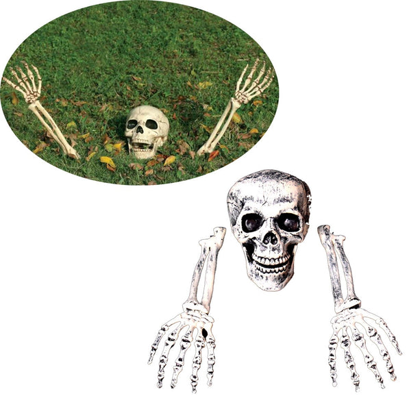 Human Skull with Hands for Halloween Garden Decoration