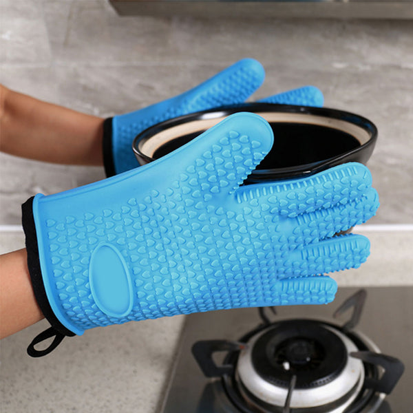 Heat-Resistant Silicone Gloves with Cotton Interior Liner *4 Colors*