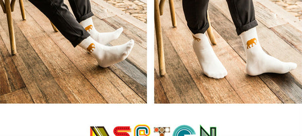 Cartoon Animal Print In Tube Couples Cotton Socks Polar Bear Elephant Horse Desigh For Women And Men Harajuku Vintage Casual Sox
