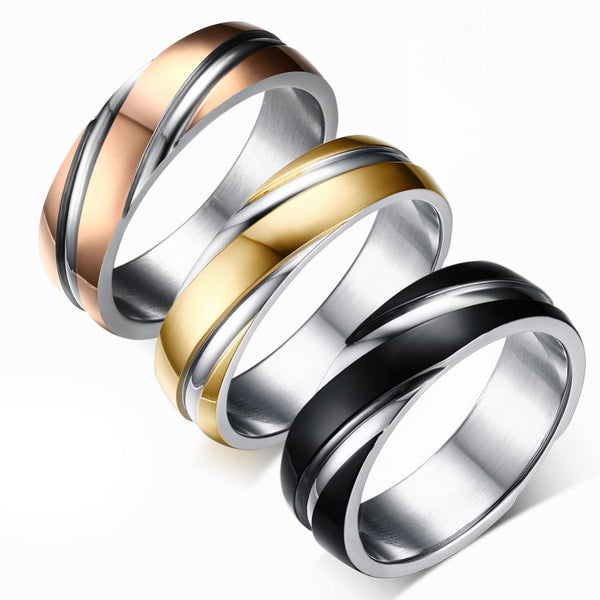 Beautiful Titanium Double Stripe Men's Ring *3 Colors*